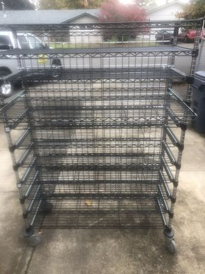 Nexel Industrial commercial shelf approximately 6 foot tall 4 foot wide 19 inches deep with nine ball bearing slide out shelves for Sale in Keizer, OR