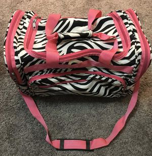 Zebra Gym, Sports, Competition Duffel Bag with Pink Trim for Sale in Westfield, MA