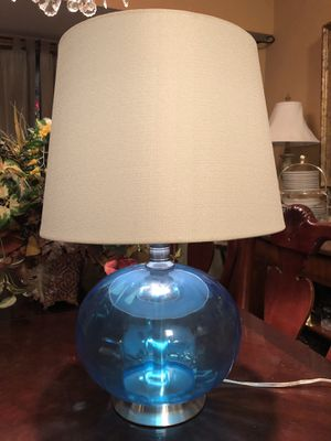 14x14x22 beautiful turquoise blue glass lamp. Great shape. 30.00. 212 North Main Street Buda. 😀Johanna. Furniture sterling silver jewelry jewelry col for Sale in Creedmoor, TX