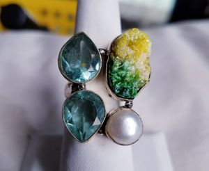 Topaz, Pearl, druzy agate and sterling silver ring, size 7 for Sale in Bangor, ME