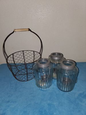 Decorative Hanging Glass Jars and Wire Basket for Sale in Corona, CA