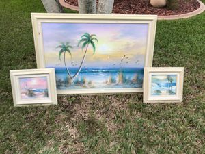 Three Sea/Beach scenic Oil-paintings ok canvas for Sale in Miramar, FL