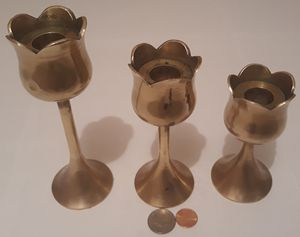 """Vintage Set of 3 Brass Candlestick Holders, 6 1/2"""", 5 1/2"""" and 4 1/2"""" Tall, Heavy Duty Brass, Solid, Home Decor, Table Display, Shelf Display for Sale in Lakeside, CA"""