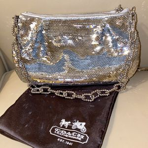 Genuine COACH Bag - Silver Sequins In LIKE NEW condition for Sale in Lake Oswego, OR