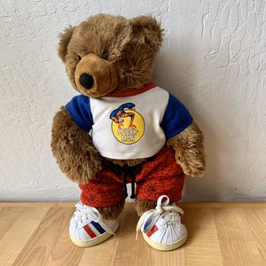 Build-A-Bear Workshop First Edition BAB Plush Spider-Man Brown Teddy Bear, In Spiderman Shorts, T-shirt Outfit And Striped Shoes, Stuffed Animal Toy for Sale in Elizabethtown, PA
