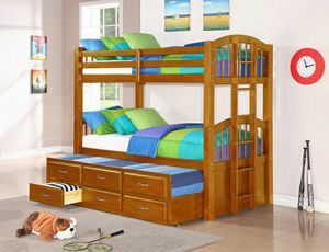 Oak bunk bed with trundle and storage ( new ) for Sale in Hayward, CA