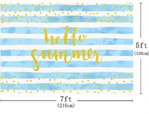 NEW Hello Summer Blue Stripe Gold Dots Themed Party Backdrop Cake Table Decoration for Sale in South Gate, CA