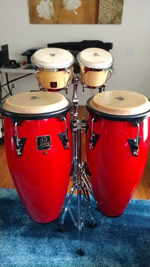 Bongo and Conga drum set with stands for Sale in Beaverton, OR