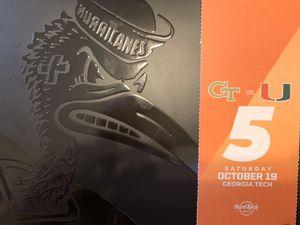 UM vs Georgia Tech GT. Orange parking pass for Sale in Miami Lakes, FL