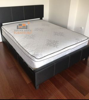 Brand New Queen Size Leather Platform Bed Frame + Pillowtop Mattress for Sale in Washington, DC