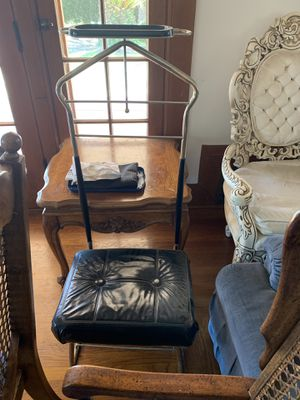 Antique chair with connecting rack for a suit jacket Must pick up in Santa Maria for Sale in Santa Maria, CA