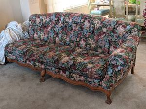 Mint Condition Formal Brocade Clawfoot Couch & Loveseat for Sale in Erie, CO