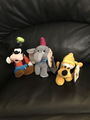 Disney Beanie Babies new with tags (Goofy, Dumbo, Pluto) for Sale in Fresno, CA