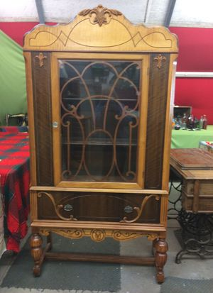Antique china cabinet with light for Sale in Forked River, NJ