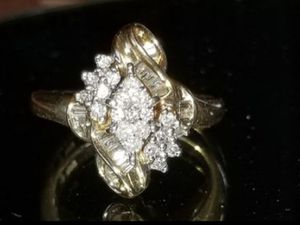 Stunning 10K yellow gold custom made genuine diamond ring size 7 for Sale in Lake Stevens, WA