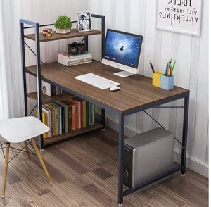 Brand new!Tower Computer Desk with 4 Tier Shelves - 47.6'' Multi Level Writing Study Table with Bookshelves Modern Steel Frame Wood Desk Compact Home for Sale in Renton, WA