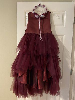 Flower girl dress in burgundy crown & basket ( BELT IS MISSING) pflugerville z for Sale in Pflugerville, TX