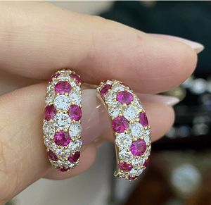 18k Gold Over 2.85Ct Diamond and Ruby Pave Set Half Hoop Earrings for Sale in Covina, CA