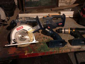 18V Ryobi saw, light, drill, and minivac for Sale in Boston, MA