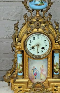 Antique-French-Sevres-porcelain-plaques-Spelter clock for Sale in Cerritos,  CA
