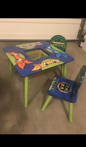 Kids table chair/ storage shelf/ ninja turtles for Sale in Yelm, WA
