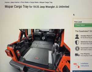 Mopar cargo tray for 18-20 Jeep Wrangler JLU for Sale in Galena, OH