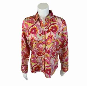 Women's Tommy Hilfiger pink paisley button shirt size petite large for Sale in Surgoinsville, TN