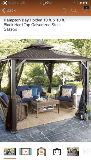 Beautiful new in box steel galvanized.. Hampton Bay Holden 10 ft. x 10 ft. Black Hard Top Galvanized Steel Gazebo regular price is $999.00 plus tax for Sale in Rancho Cucamonga, CA