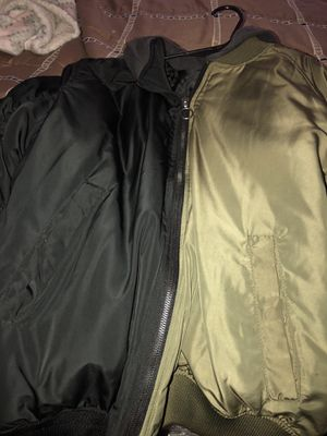 Zara jacket two side green and black and hollister jacket xs and LL bean rain jacket for Sale in Baltimore, MD