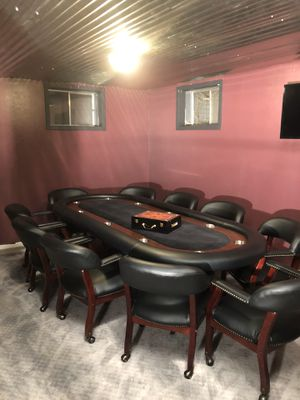 Poker table and 10 custom chairs with quality chip set for Sale in Golden, CO