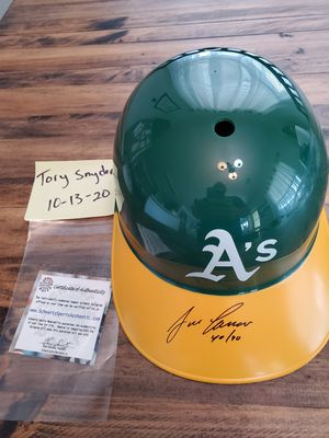 Oakland A's Jose Canseco signed batting helmet with 40/40 inscription. Schwartz COA for Sale in Cibolo, TX