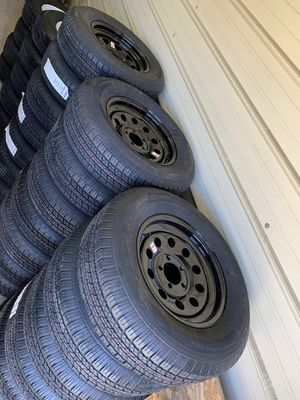 (Brand new) 205/75/15 trailer tires with 5 lug trailer wheels for Sale in Riverside, CA