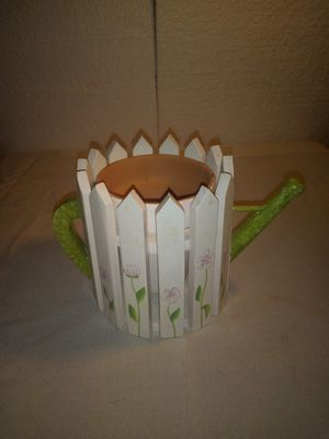 Ross terracotta white wood picket fence floral pattern with handle spout for Sale in Wakeman, OH