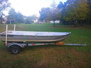 Sale Pending..... 12' aluminum boat with a galvanized trailer. Handy man special. 250.00 for Sale in San Antonio, FL