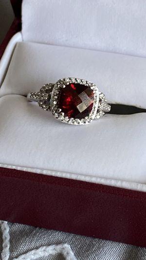 10 K White Gold tiny diamond dark red gemstone stone ring Size 5 1/2 for Sale in Lynnwood, WA