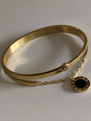 Ladies Gold over Stainless Steel Bangle Bracelet w/Chain + Dangling Black Roman #'s Disc *Ship Nationwide Or Pickup Boca Raton for Sale in Boca Raton, FL