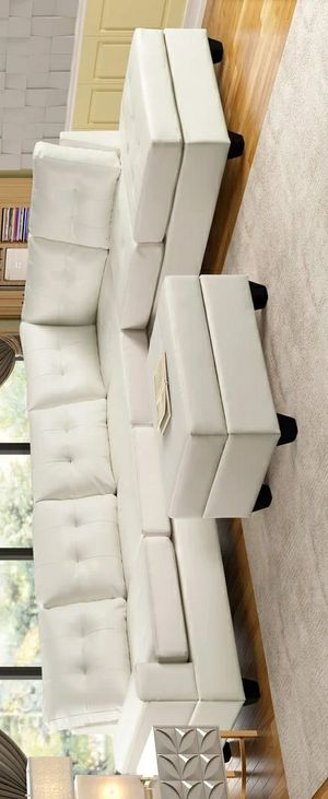[HOT DEAL] Heights White Faux Leather Reversible Sectional with Storage Ottoman Couch sofa for Sale in Houston, TX