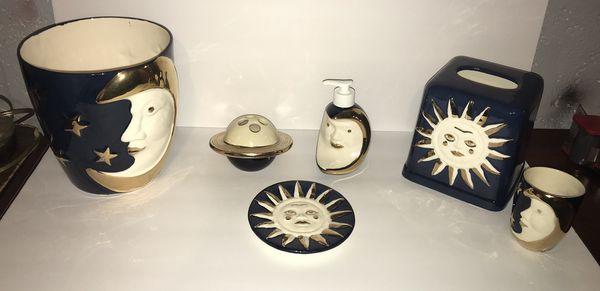 Sun, Moon and Stars Bathroom Set Navy NEW