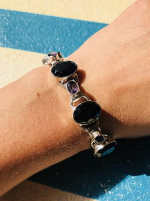 "Adjustable amethyst and sterling silver bracelet 8.25"" for Sale in Tampa, FL"