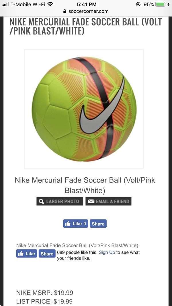 266927d38 NIKE MERCURIAL FADE SOCCER BALL (VOLT PINK BLAST WHITE) for Sale in ...