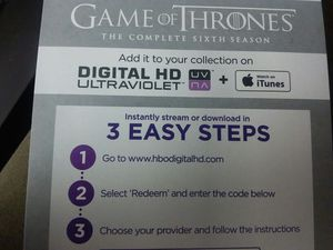 Game of Thrones season 6 Digital HD code for Sale in Knoxville, TN
