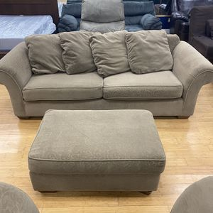 Bauhaus Light Brown Sofa, Ottoman, and Chair for Sale in Lynnwood, WA