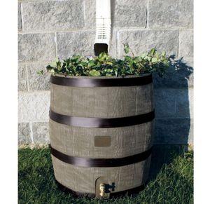 35-Gallon Oak Texture Rain Barrel with Built-in Planter for Sale in Corona, CA
