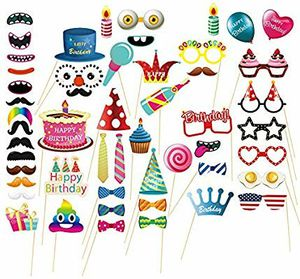 Birthday Photo Booth Props - 52 Pieces Photo Props Kits for Birthday Party Supplies for Sale in Torrance, CA