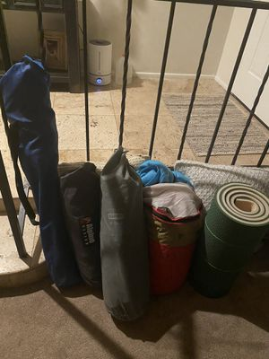 Camping gear : 1 man alpine design tent ,queen air mattress, sleeping bag, foam roll for Sale in Guadalupe, AZ