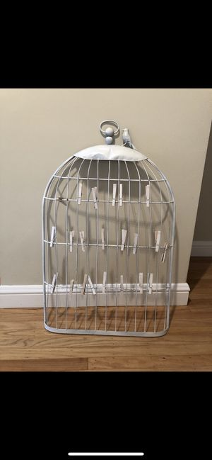 Shabby chic white birdcage wedding or house decor photo holder seating chart for Sale in San Francisco, CA