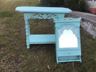 Aqua Chalk Painted Entry/ Console/ Sofia Table And Chalk Painted Mirrored Shelf for Sale in Austin,  TX
