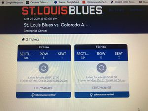 Blues Tickets - Monday - Colorado Avalanche for Sale in St. Louis, MO