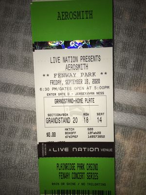 2 tickets to see aerosmith fenway park for Sale in Medford, MA