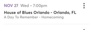 4 -A Day to Remember Tickets: 11/27 Orlando for Sale in Margate, FL